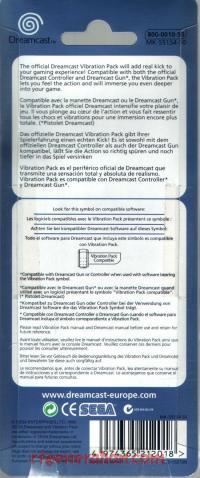 Sega Dreamcast Vibration Pack  Box Back 200px