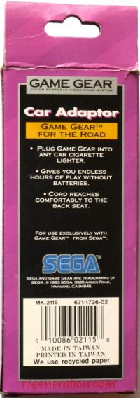 Game Gear Car Power Adapter Official Sega Box Back 200px
