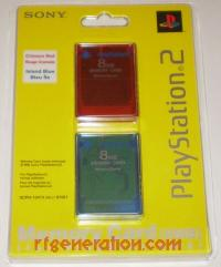 8MB Memory Card Double Pack Official Sony - Crimson Red / Island Blue Box Front 200px