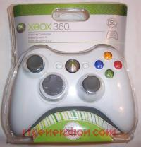 Microsoft Xbox 360 Wireless Controller White Box Front 200px