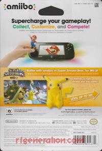 Amiibo: Super Smash Bros.: Pikachu  Box Back 200px