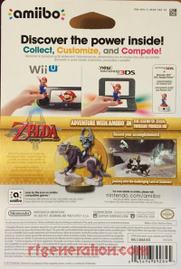 Amiibo: The Legend of Zelda: Wolf Link  Box Back 200px
