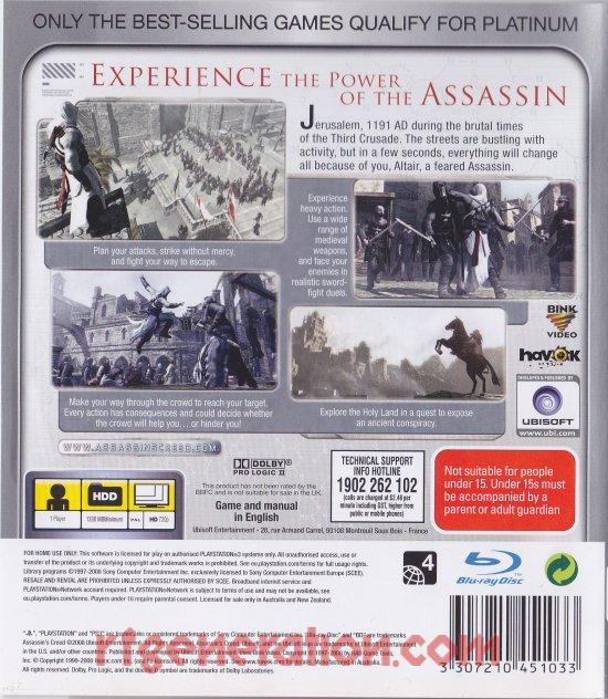 Assassin's Creed <sup></sup> Box Back
