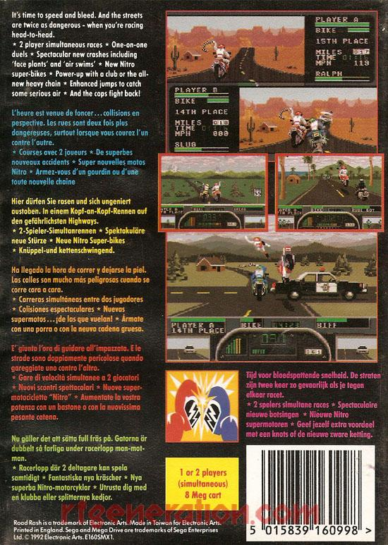 Road Rash II Box Back