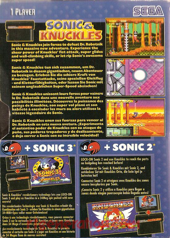 Sonic & Knuckles <sup>[4 Languages]</sup> Box Back