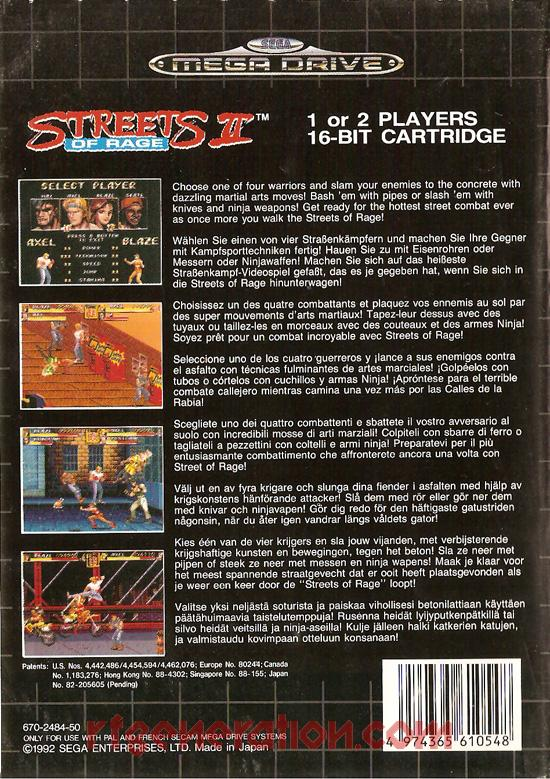 Streets of Rage II Box Back