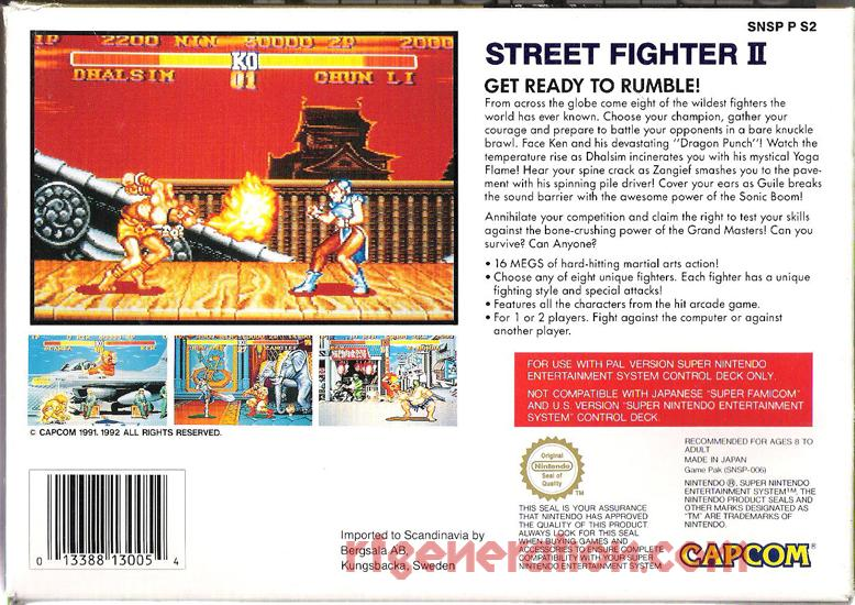 Street Fighter II Box Back