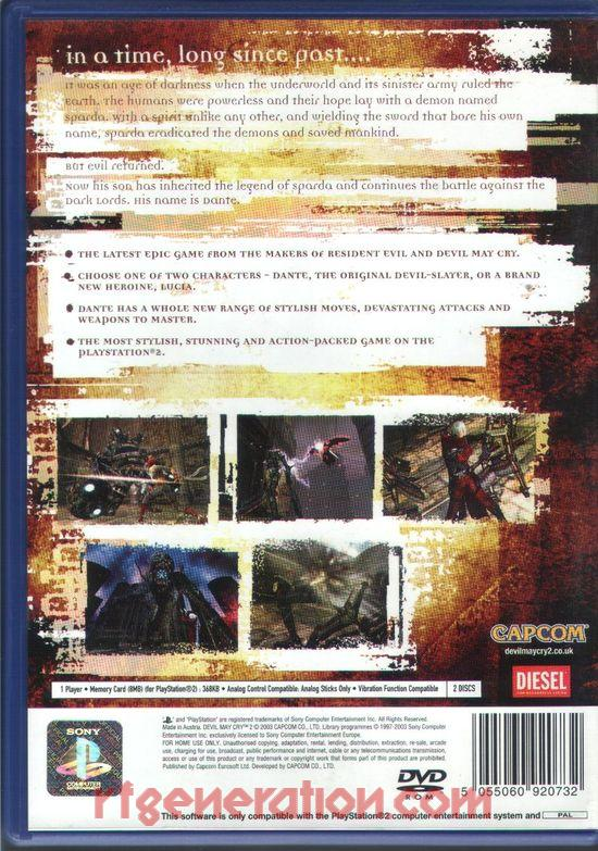Devil May Cry 2 Box Back