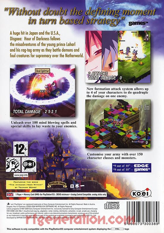 Disgaea: Hour of Darkness Box Back