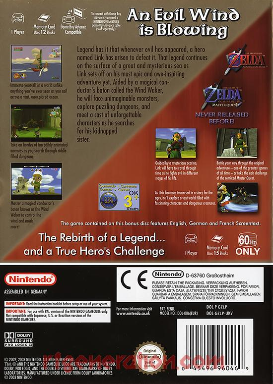 Legend of Zelda, The: The Wind Waker <sup>[Limited Edition]</sup> Box Back