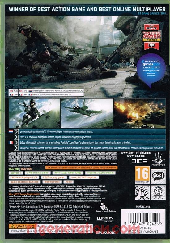 Battlefield 3 Box Back