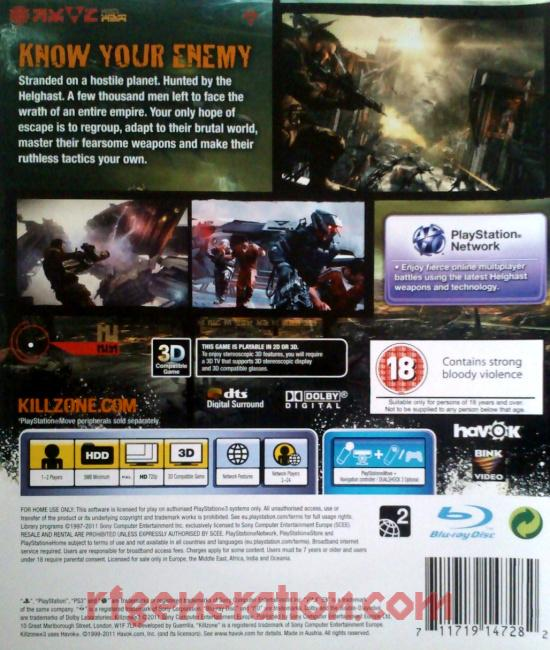Killzone 3 Box Back