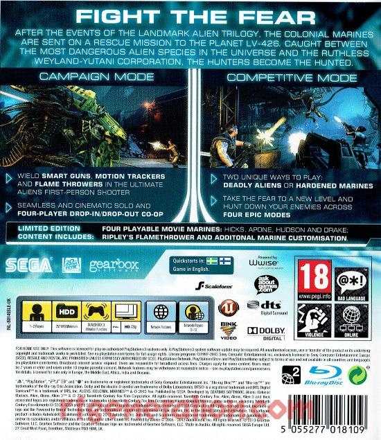Aliens: Colonial Marines <sup>[Limited Edition]</sup> Box Back