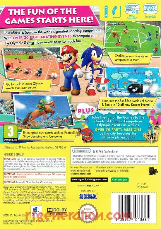 Mario & Sonic at the London 2012 Olympic Games Box Back