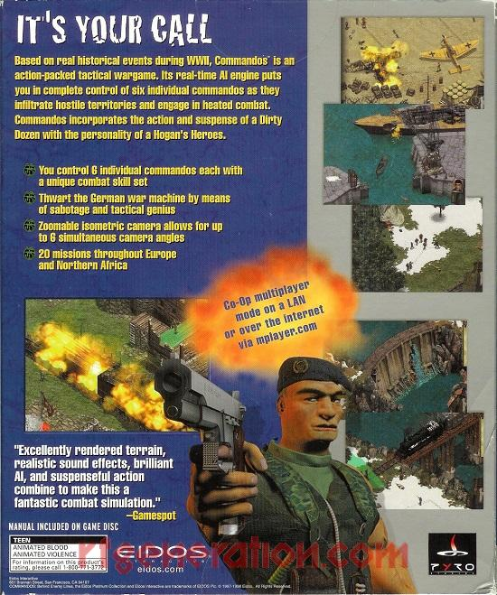 Commandos:  Behind Enemy Lines <sup>[Eidos Platinum Collection]</sup> Box Back