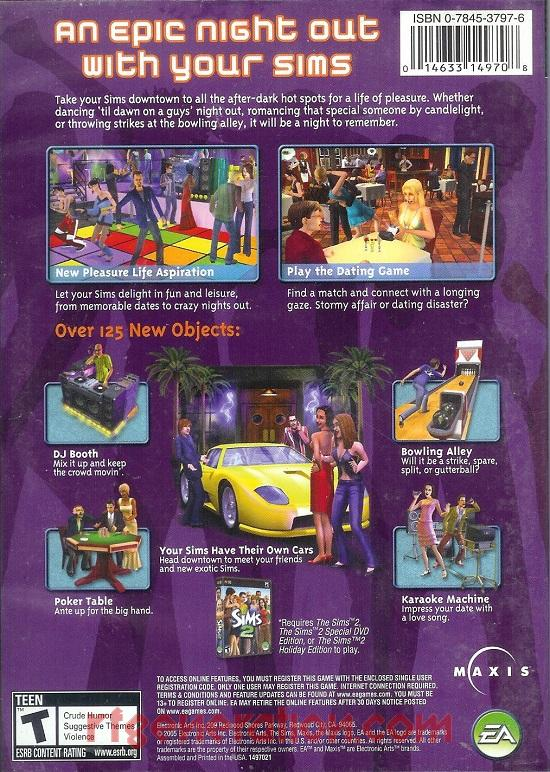 Sims 2, The: Nightlife Expansion Pack Box Back