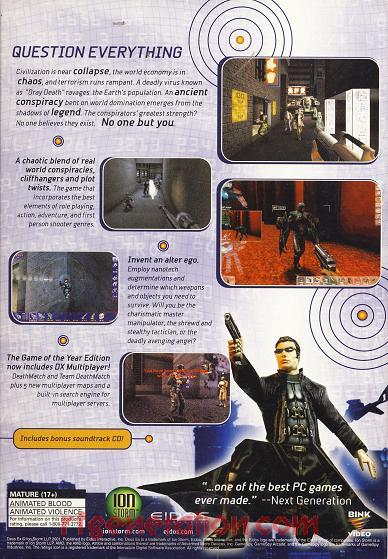 Deus Ex <sup>[Game of the Year Edition]</sup> Box Back