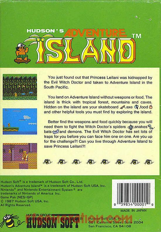 Adventure Island, Hudson's <sup>[Round Seal]</sup> Box Back