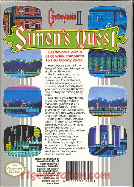 Castlevania II: Simon's Quest <sup>[Oval Seal]</sup> Box Back
