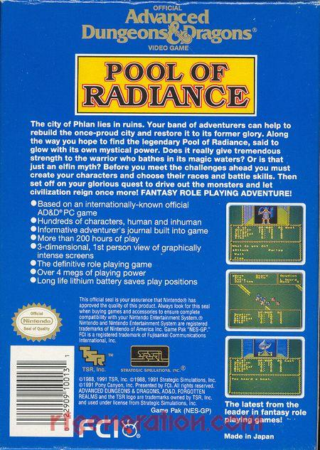 Advanced Dungeons & Dragons: Pool of Radiance Box Back