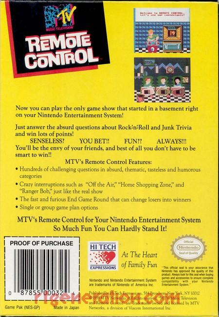 MTV Remote Control Box Back