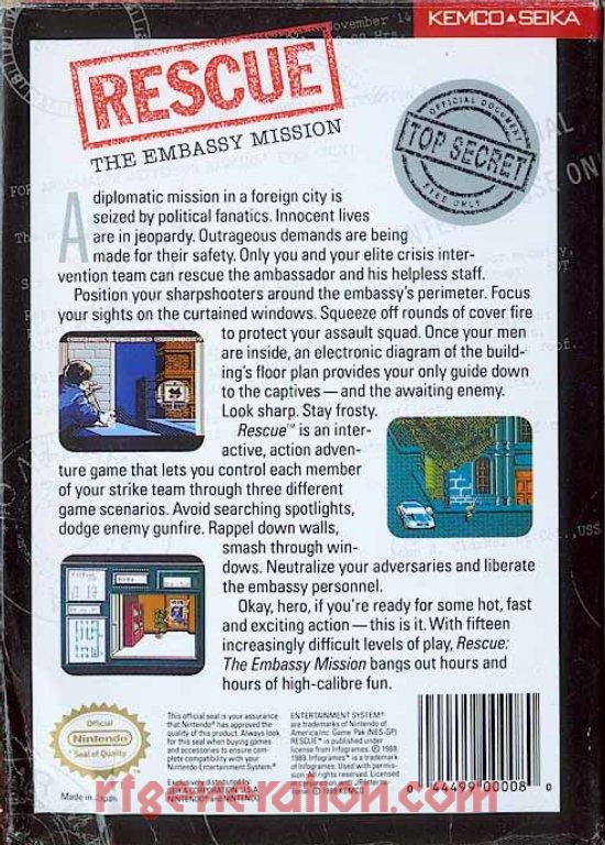 Rescue: The Embassy Mission Box Back
