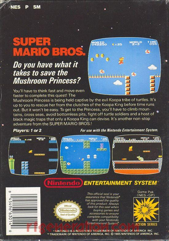 Super Mario Bros. <sup>[3 Screw - Oval Seal]</sup> Box Back