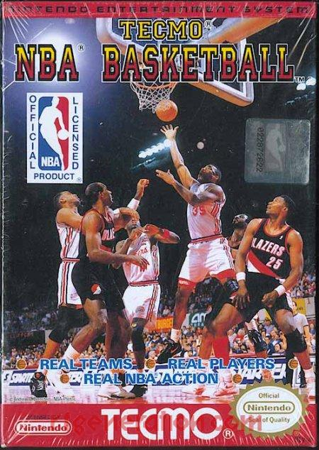 Tecmo NBA Basketball <sup>[White NBA Logo Rerelease]</sup> Box Front