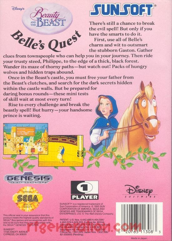 Beauty and the Beast, Disney's: Belle's Quest Box Back
