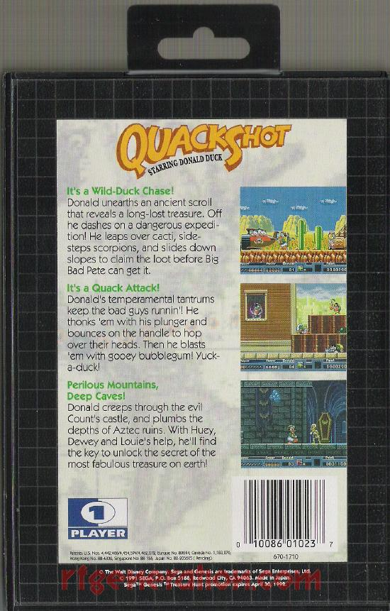 QuackShot Starring Donald Duck Box Back