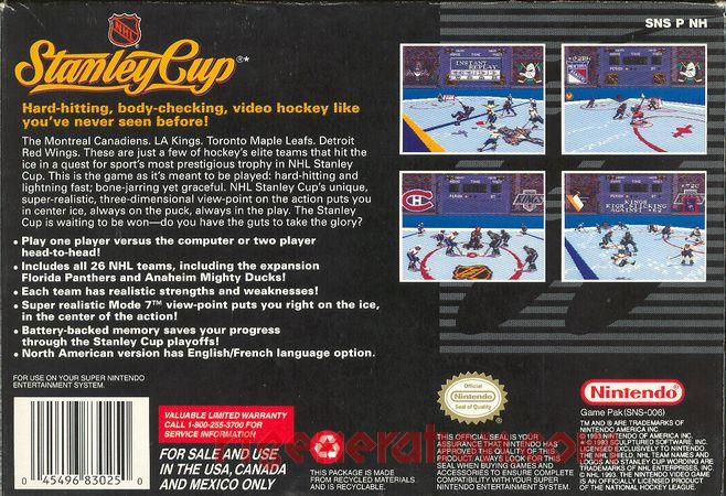 NHL Stanley Cup Box Back