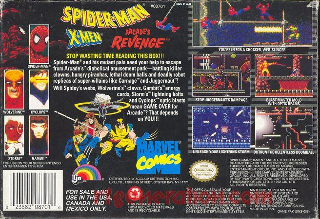 Spider-Man and the X-Men: Arcade's Revenge Box Back