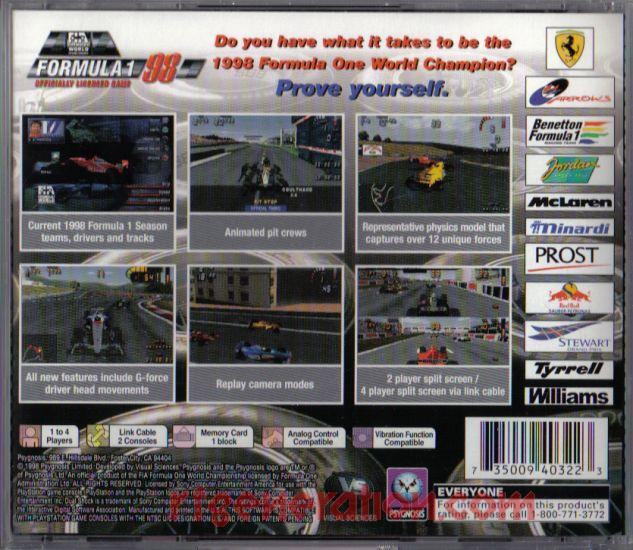 Formula 1 '98 <sup>[Alternate UPC]</sup> Box Back