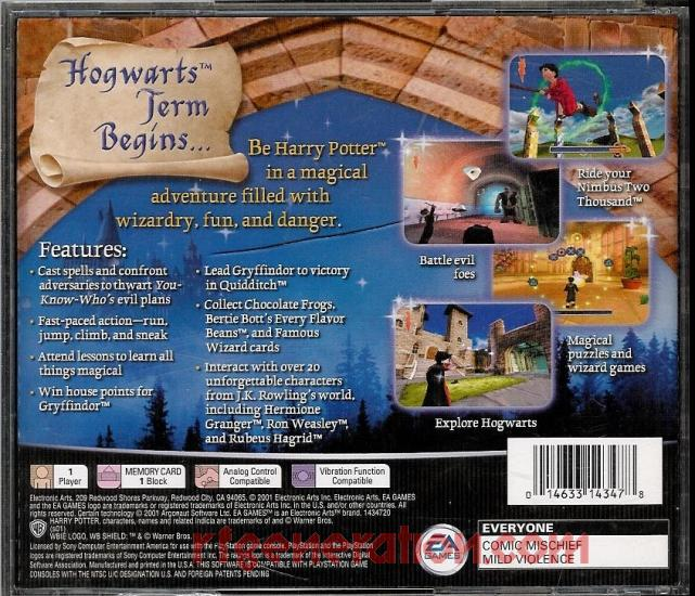 Harry Potter and the Sorcerer's Stone Box Back