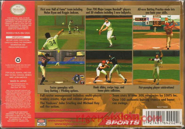 All-Star Baseball 2001 Box Back