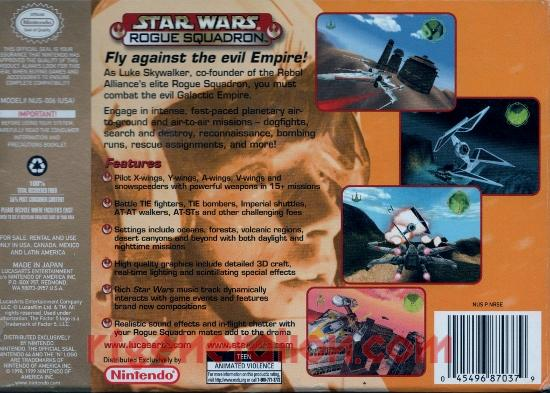 Star Wars: Rogue Squadron <sup>[Players Choice Million Seller]</sup> Box Back