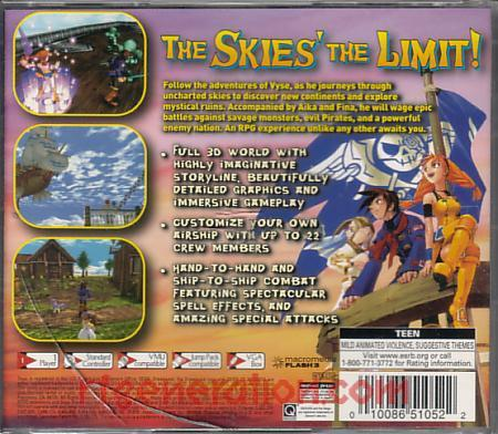Skies of Arcadia Box Back