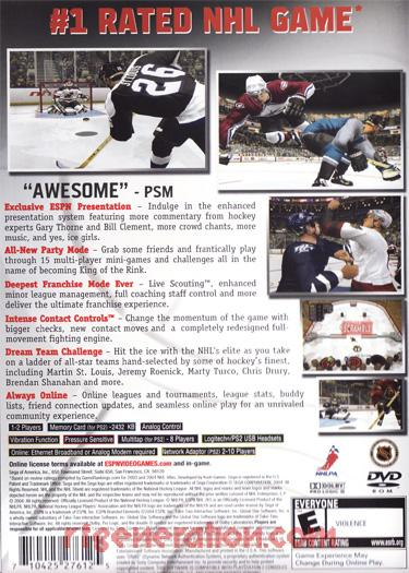 ESPN NHL 2K5 Box Back