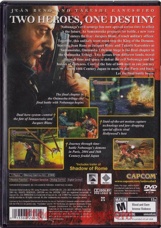 Onimusha 3: Demon Siege Box Back