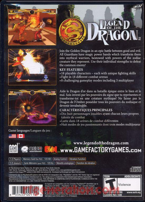Legend of the Dragon Box Back