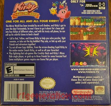 Kirby & The Amazing Mirror Box Back