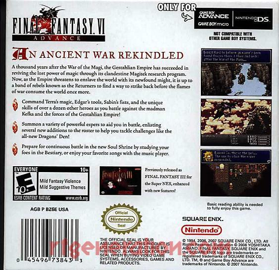 Final Fantasy VI Advance Box Back