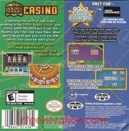 2 Games In 1: Golden Nugget Casino + Texas Hold 'Em Poker Box Back