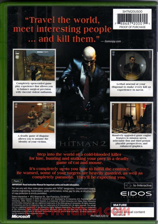 Hitman 2: Silent Assassin Box Back