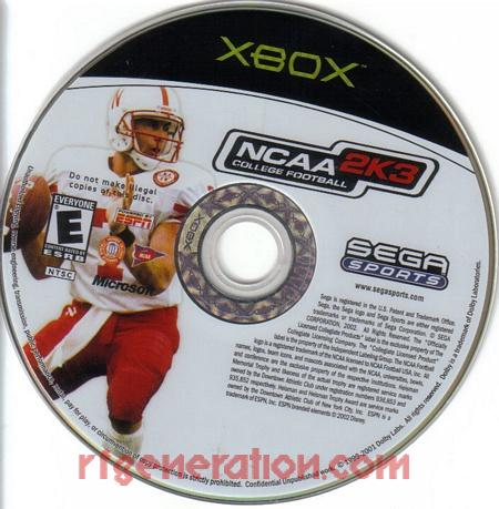 NCAA College Football 2K3 Game Scan