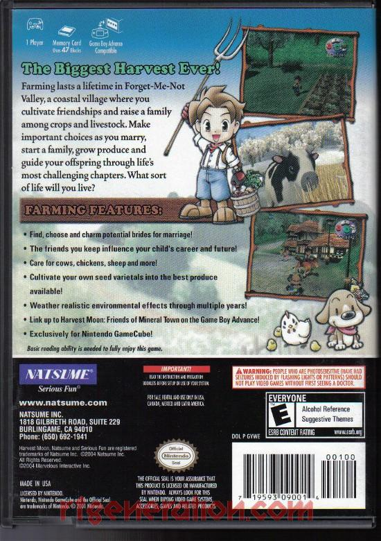 Harvest Moon: A Wonderful Life Box Back