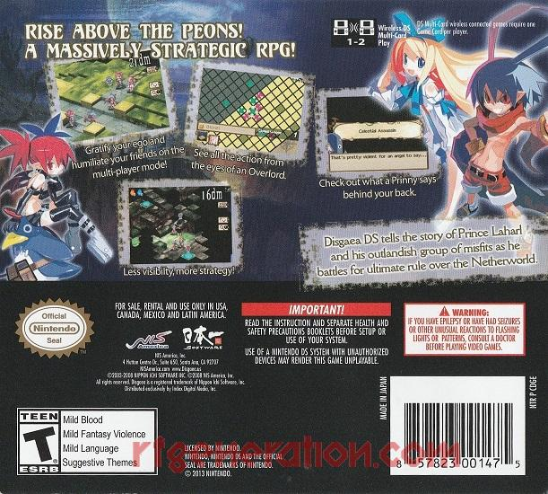 Disgaea DS <sup>[Re-Release]</sup> Box Back