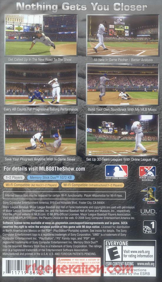 MLB 08: The Show Box Back
