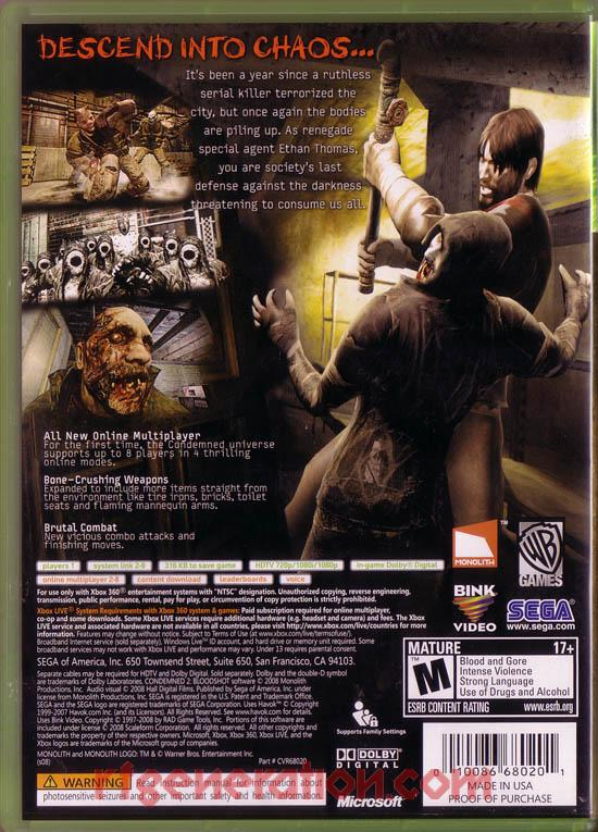 Condemned 2: Bloodshot Box Back