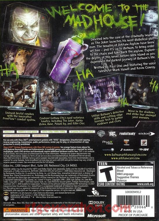 Batman: Arkham Asylum Box Back